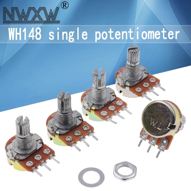 5pcs WH148 potenciômetros B1K B2K B5K B10K B20K B50K B100K B500K 3Pin 15mm dupla stereo amplificador 50 10 5 2 1K K K K 100K 500K