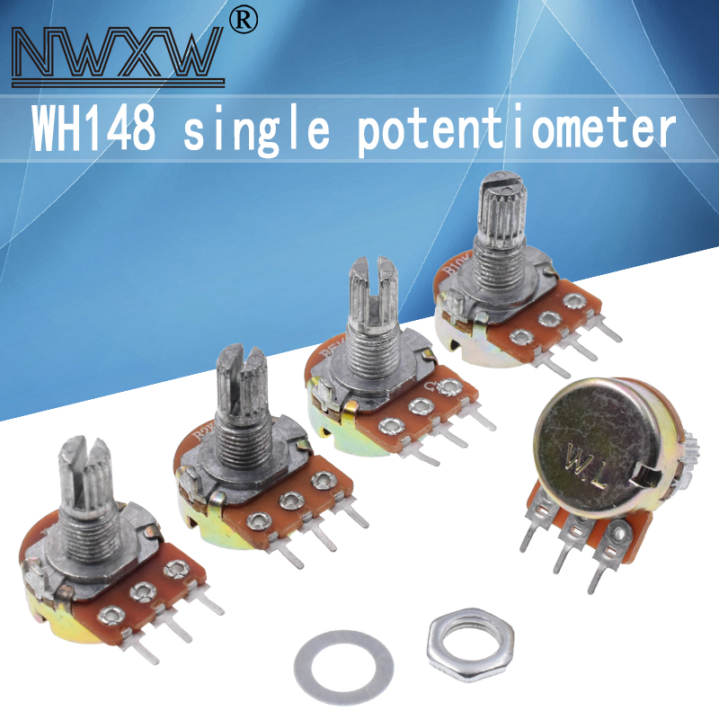 5pcs WH148 potentiometers B1K B2K B5K B10K B20K B50K B100K B500K 3Pin 15mm dual stereo amplifier 50 10 5 2 1K K K K 100K 500K