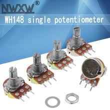 Потенциометры WH148, 5 шт., B1K, B2K, B5K, B10K, B20K, B50K, B100K, B500K, 3Pin, 15 мм, двойной стереоусилитель 50, 10, 5, 2, 1K, K, 100K, 500K