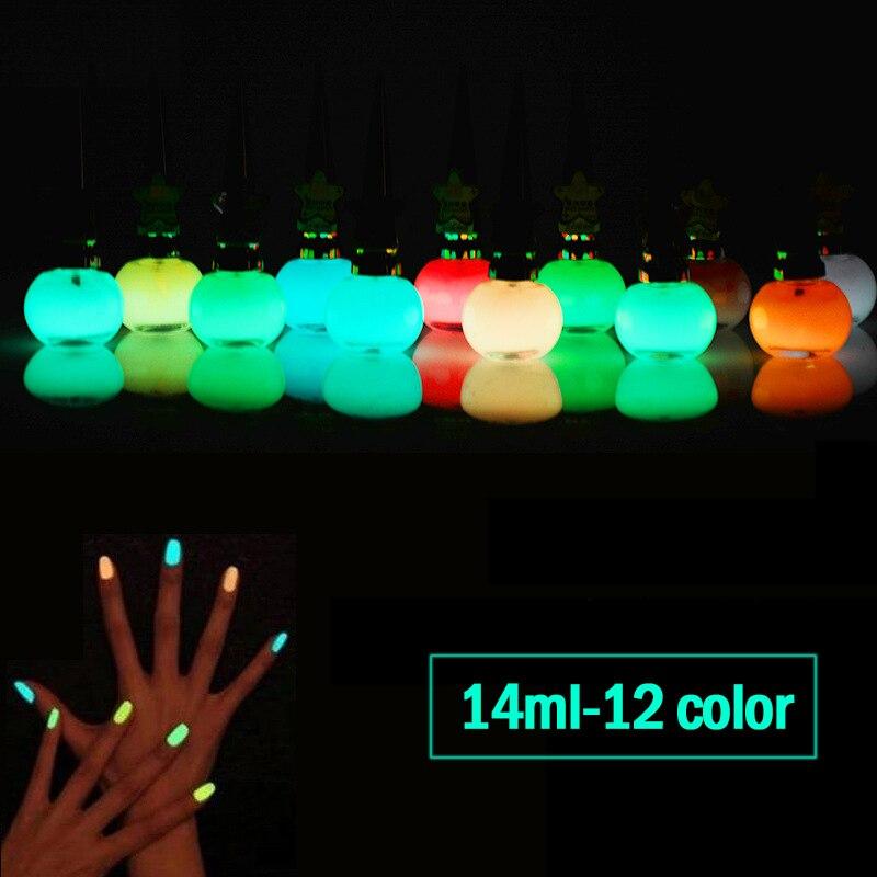 Recém 14ml brilho no escuro neon pintura cor fluorescente unha polonês verniz luminoso unha arte manicure