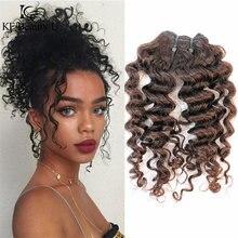 Ombre cabelo humano encaracolado pacotes de tecelagem para preto mulher dois tons cabelo 35 g/pçs kf beautyu