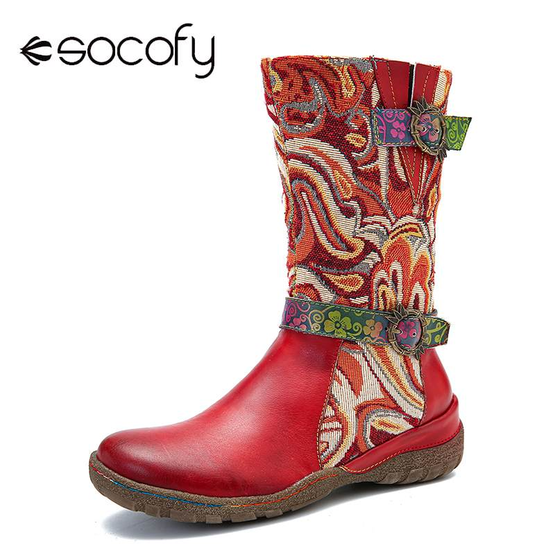SOCOFY Genuine Leather Fantastic Pattern Splicing Metal Buckle Soft Sole Flat Tall Boots Elegant Shoes Women Shoes Botas Mujer