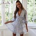 Женское платье с цветочным принтом ArtSu, розовое платье-трапеция с V-образным вырезом, открытой спиной, длинным рукавом и оборками, празднично...