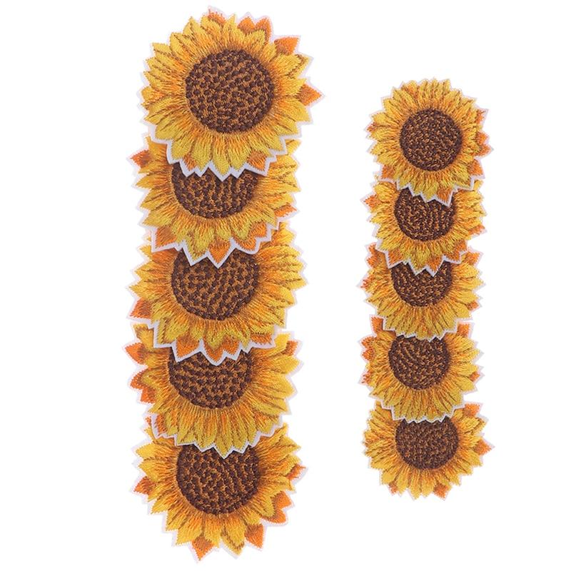 5 adet/grup DIY işlemeli ayçiçeği yama üzerinde demir yamalar üzerinde çiçek etiket kot pantolon ayakkabı çanta kumaş aplikler el yapımı rozeti