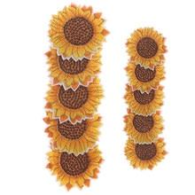 5 teile/los DIY Bestickt Sonnenblumen Patch Eisen Auf Nähen Auf Blume Aufkleber Jeans Hosen Schuhe Taschen Stoff Appliques Handgemachte Abzeichen