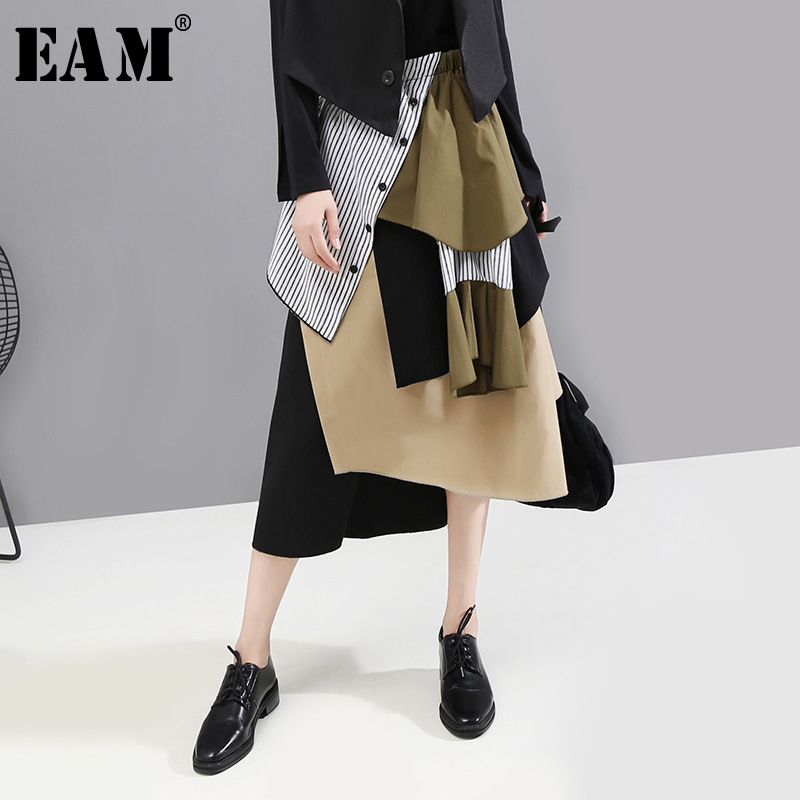 [EAM] High Elastic Waist Spliced Hit Color Asymmetric Striped Half-body Skirt Women Fashion Tide New Spring Autumn 2020 1A888