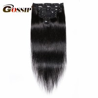 Gossip Brazilian Straight Hair Clip In Human Hair Extensions Natural Color 8 Pieces/Set 120G 28 Inch Remy Hair Free Shipping