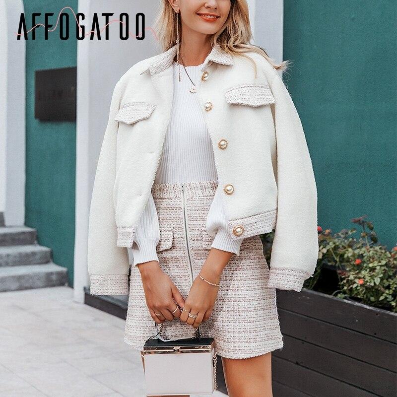 Affogatoo Elegant Office Tweed Faux Fur Two-piece Suit Sets Coat Skirt Women Casual Ladies Autumn Winter Vintage Skirt Coat Suit