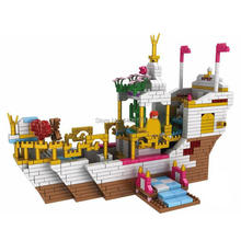 hot LegoINGlys creators Classic Fairy tale Royal ship Prince Princess figures mini micro diamond building blocks toys gift