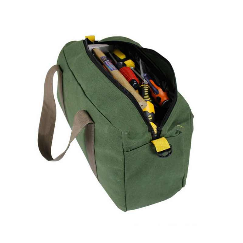 Urijk Kanvas Tahan Air Tas Alat 12/14/16 Inch Hijau Portable Toolkit Multifungsi Tang Obeng Tas Penyimpanan Case