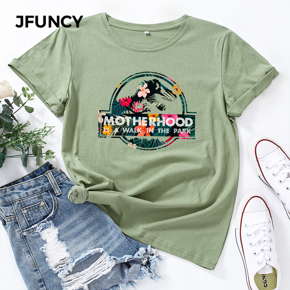 JFUNCY Casual Cotton T-shirt Women T Shirt Motherhood Letter Printed Oversized Woman Harajuku Graphic Tees Tops 2
