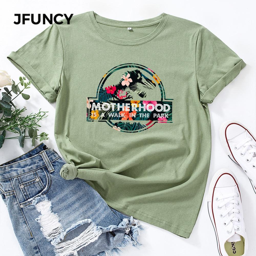 JFUNCY Casual Cotton T-shirt Women T Shirt Motherhood Letter Printed Oversized Woman Harajuku Graphic Tees Tops 2