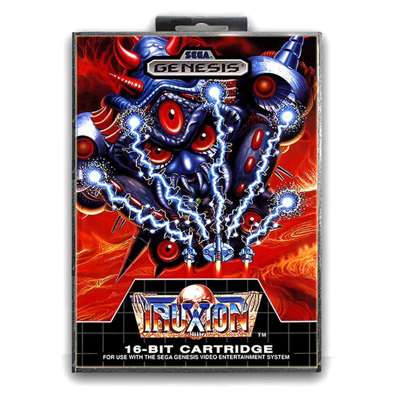 Sega MD games card - Truxton with box for Sega MegaDrive Video Game Console 16 bit MD card