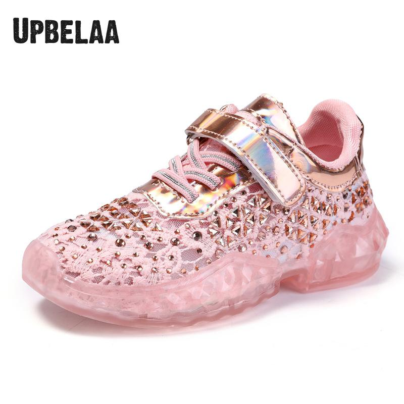 Fashion Kids Shoes Running Sneakers For Girls Casual Shoes Silver/pink Mesh Sport Breathable Children Crystal Sneakers Student