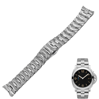 Rolamy 24mm 316L Stainless Steel Watch Band Silver Double Push Clasp For Panerai Luminor Man Style