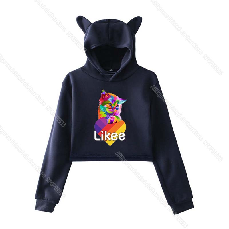Girls Pink Cat Ear LIKEE Hoodies Cat Crop Top Likee App Hoodie Women Cartoon Unicorn Fox Sweatshirt Female Harajuku Streetwear 19