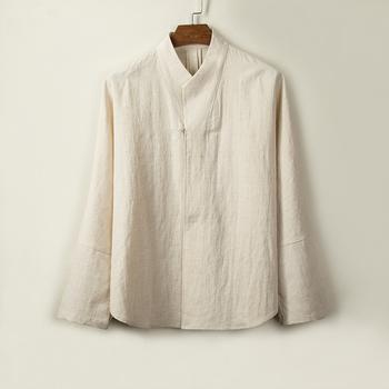 2021 stójka tradycyjna chińska odzież dla mężczyzn rok ubrania retro bluzka chińska koszula w stylu tai jednolite koszule na co dzień tanie i dobre opinie CN (pochodzenie) Pełna COTTON Linen Oddychające Pasuje prawda na wymiar weź swój normalny rozmiar Suknem