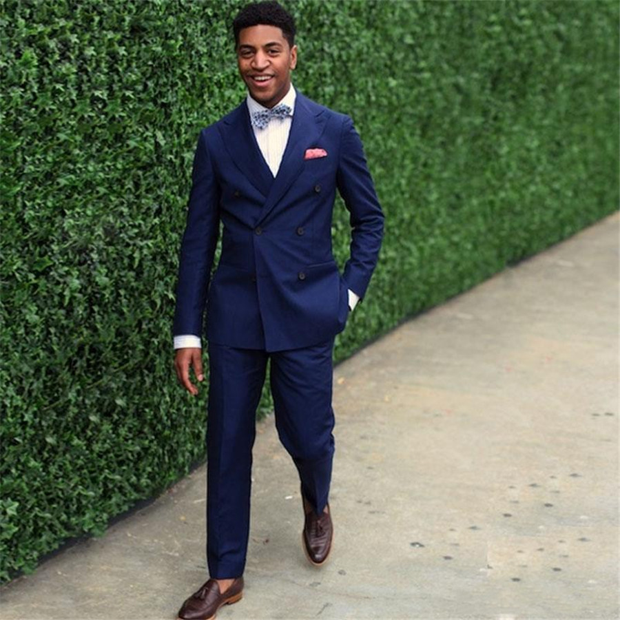 Double Breasted Groom's Wedding Tuxedos Tailor Made Men Formal Suit Blazer Formal Suits (Jacket+Pants)