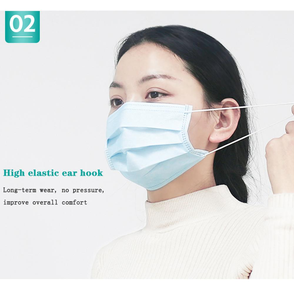 100pcs Classic Blue Unisex Prevent Virus Bacteria Mouth Face Mask Disposable Non-Woven Three-layer Filter Anti-dust Mouth Mask