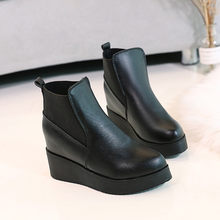 Women's Shoes thick Bottomed Increasing Booties Single Boots High-Heeled Pointed Women Shoes dropshopping(China)