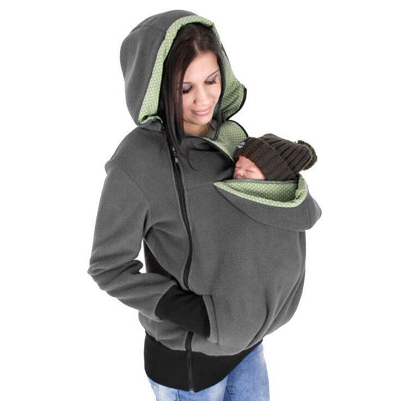 Winter Pregnant Sweatshirt Woman Kangaroo Hoodies With Parent Child Baby Carrier