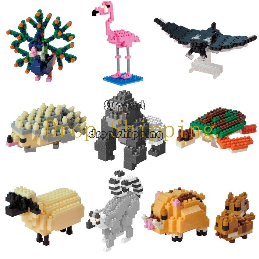 Wisehawk-minibloques de construcción, animales, Series, bloques de diamante, Micro tamaño, partículas más pequeñas que Lego D1-D17