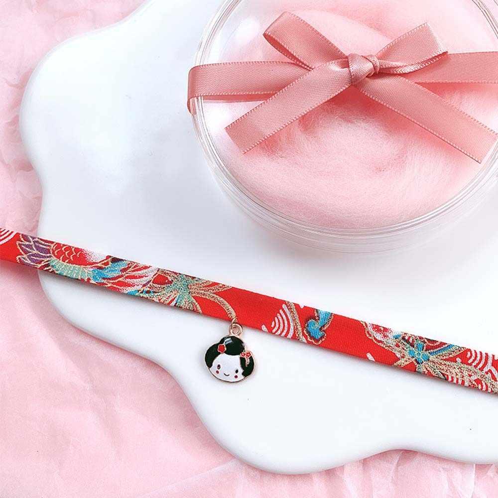 和風リボンロープ人形チョーカー原宿ロマンチックな女性女の子鳥猫鯉ペンダントショートネックレスチョーカーチェーンジュエリー