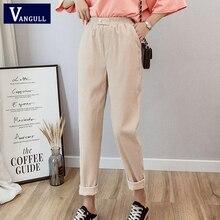 Vangull נשים קורדרוי הרמון מכנסיים מוצק גבוהה לחכות Loose מקרית קרסול אורך מכנסיים סתיו חדש אלסטי מותניים קוריאני גרסה מכנסיים