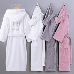 Hotel Cotton Bathrobe Mens Couples Nightgown Winter Thickened Hooded Men Towel Pajamas Home Wear Bath Robe Solid Robe