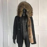 CNEGOVIK Rabbit Fur Coat For Man 2019 New Winter Warm Fashion Real Fur Parkas Raccoon Fur Collar Men\'s Parka
