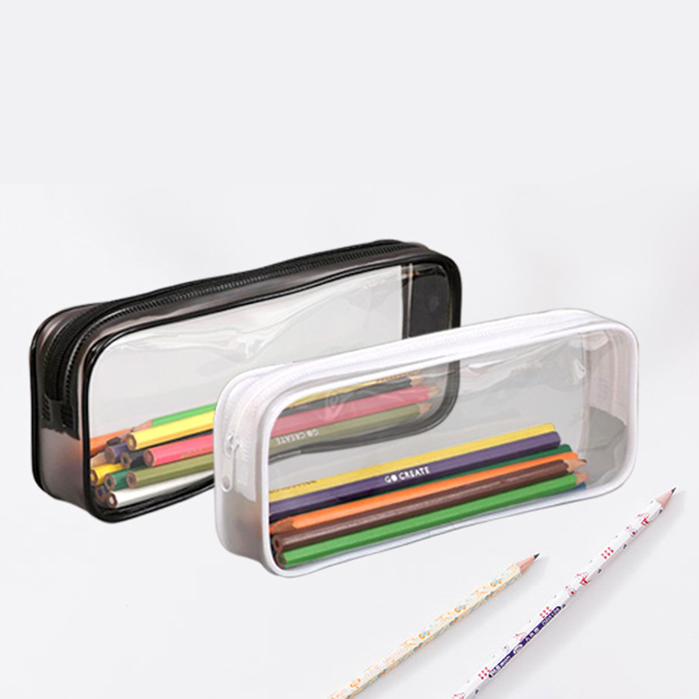 Transparent PVC Pencil Case Clear Stationery Bags Small Storage Bag Makeup Pouch School Supplies