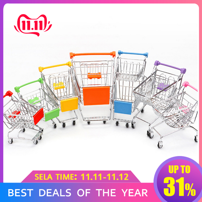 Pretend Play Groceries Toys Supermarket Handcart Toys Carts Storage Folding Mini Shopping Cart Basket Toys For Children Boys
