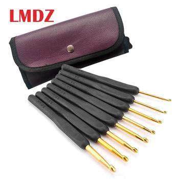 LMDZ 9 sztuk/zestaw 2.0-6.0mm DIY rzemieślnicze hak szydełka szydełka miękka rączka złoty akcesoria do szycia czarny z torbą