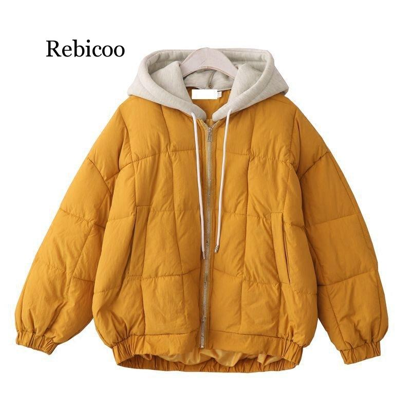 Oversize Harajuku Thickening Coat Women Fashion Solid  Cotton-padded Jacket Korean Fashion Outwear Hooded Tops