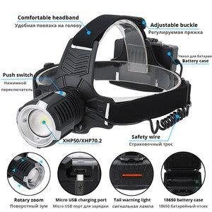 Image 2 - Super Bright LED ไฟหน้า P70.2 Wick USB ไฟหน้าแบบชาร์จไฟได้กันน้ำตกปลา 3 โหมดขับเคลื่อนโดย 18650