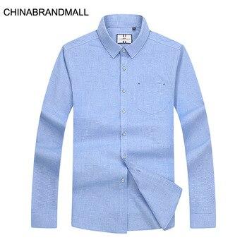 Season Men Plus Fat Plus Size Lapel Long Sleeve Shirt Male Fat Man Business Leisure Long Sleeve Shirt Male