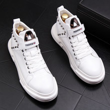 punk style men boots fashion cow leather rivets shoes black white ankle boot hip hop dress platform bota masculina mans footwear(China)