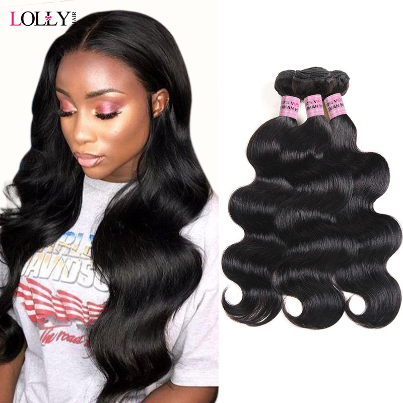 Lolly Malaysian Body Wave Hair Bundles 100% Human Hair Bundles 8-28inch Non Remy Hair Weave Extensions Free Drop Shipping