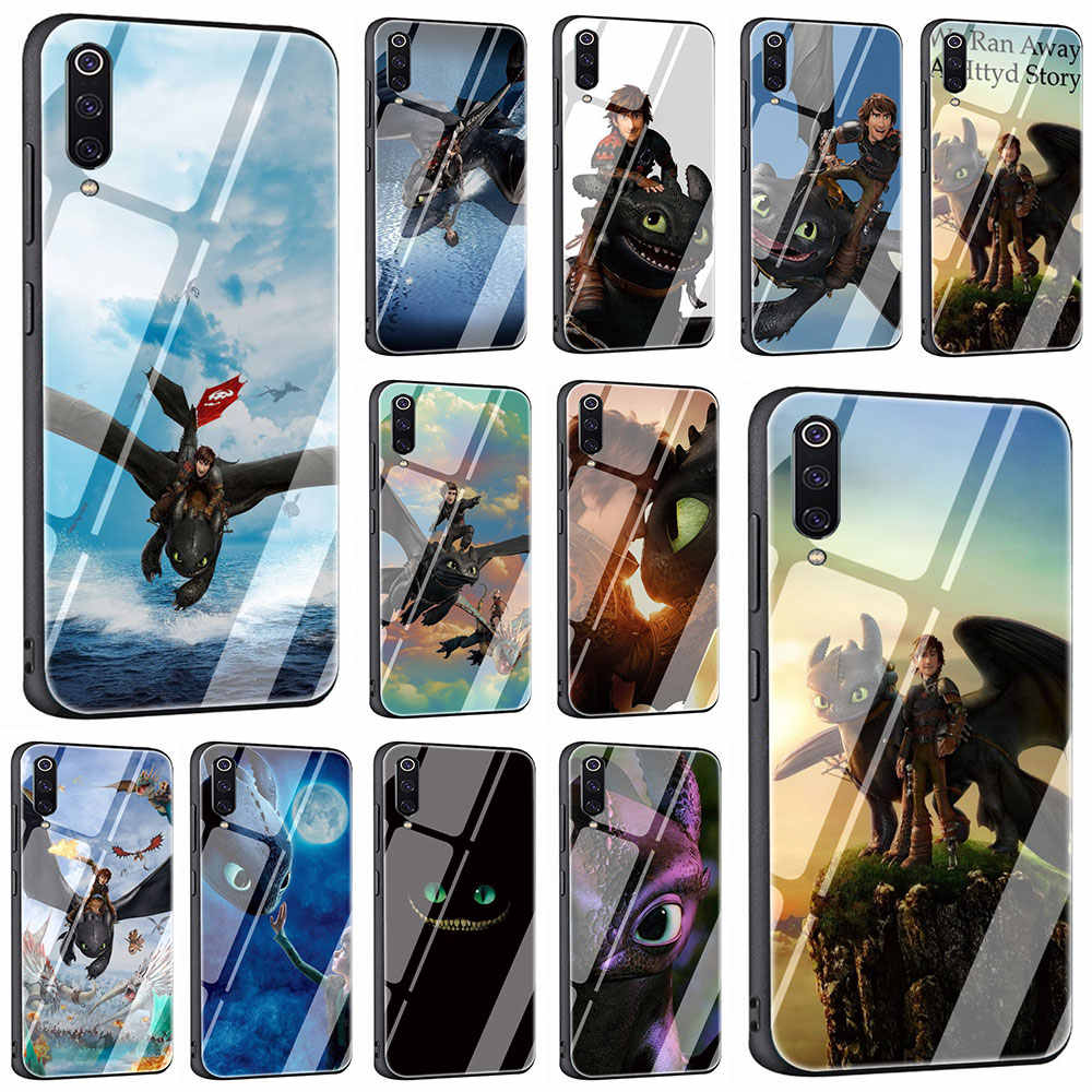 הדרקון 2 מזג זכוכית טלפון כיסוי מקרה עבור שיאו mi mi 8 9 אדום mi 4X 6A הערה 5 6 7 פרו Pocophone F1