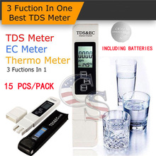 15 units/pack 3 in 1 TDS EC Meter Temp Tester Thermometer Pen Water Purity PPM Filter Hydroponic for Aquarium Pool Water Monitor