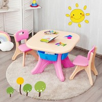 Kids Activity Table Chair Set Play Furniture Friendly Storage Design Friendly PE Material Studying Children Furniture