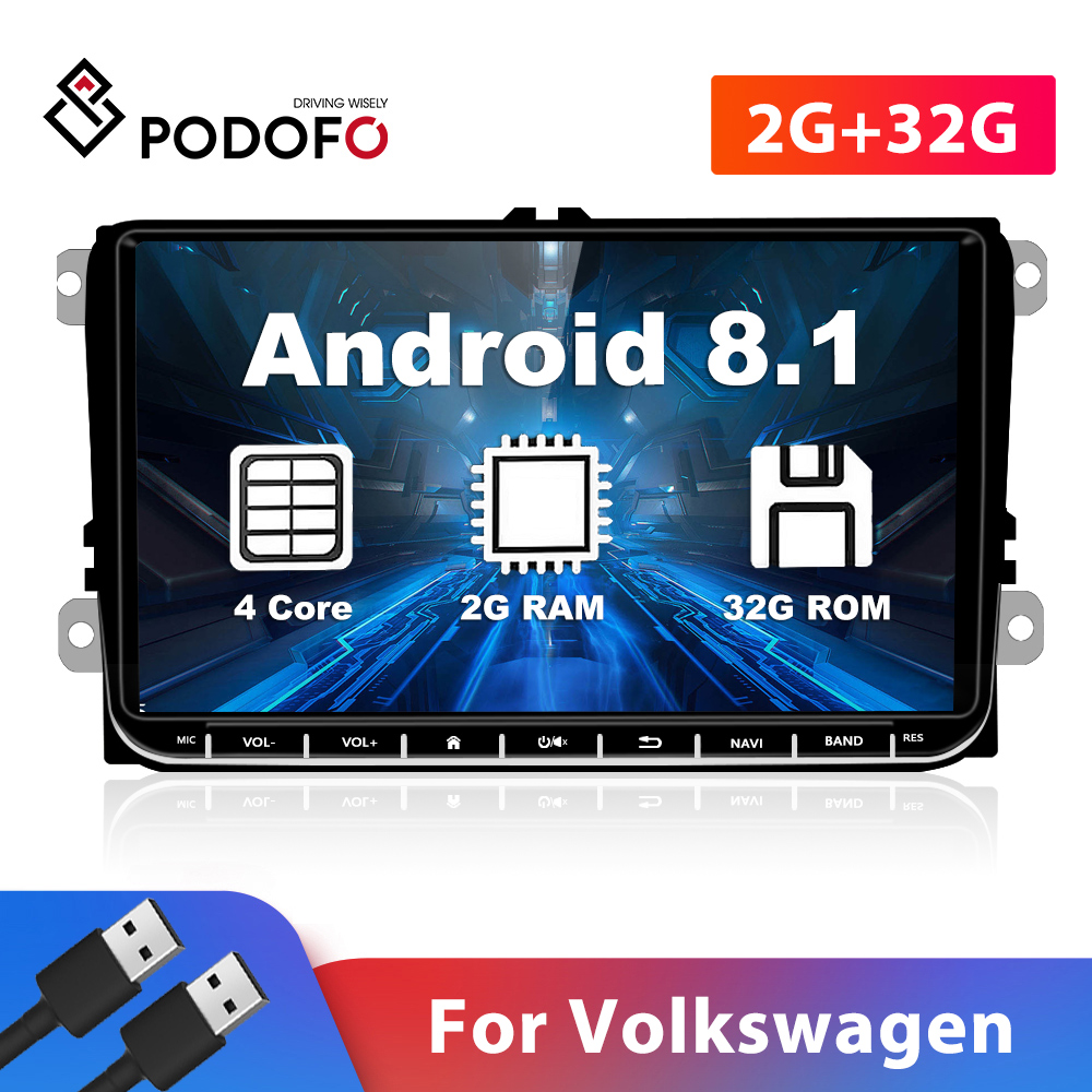 Podofo 2 Din Car Multimedia Player 9 Android Car Auto Radio GPS FM For VW/Volkswagen/Golf 5 6/Polo/Tiguan/Passat B5 B6/Skoda image