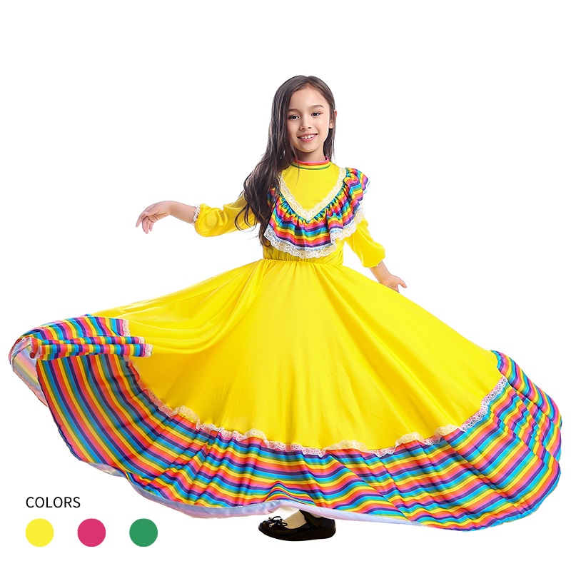 Girls Amazing Jalisco Traditional Guadalajara Mexican Folk Dancer Costume 3 Colors Available|Girls Costumes|Novelty & Special Use - AliExpress