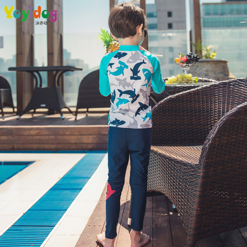 2018 New Style KID'S Swimwear BOY'S Big Boy 4-12-Year-Old Korean-style Cartoon Long Sleeve Trousers Two-piece Swimsuits