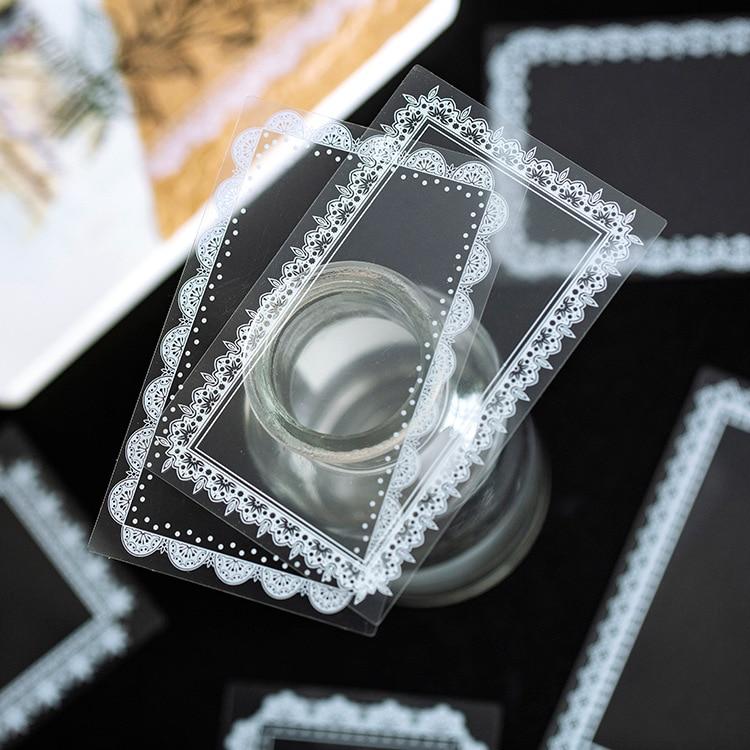 30pcs/pack Transparent Waterproof PET Sticker DIY Dairy Decorative Sticker Creative Retro Software Lace Cute Fruit Sticker
