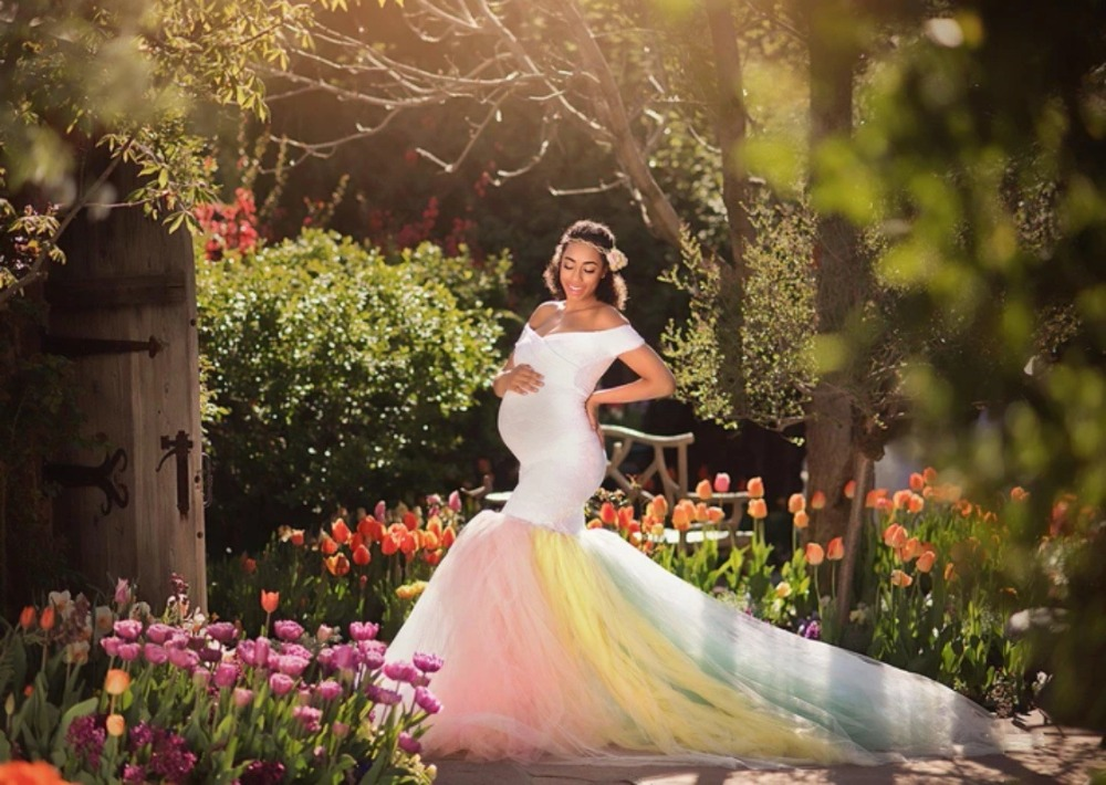 Lace Maternity Photography Props Dresses Rainbow Mesh Pregnancy Dress Long Pregnant Women Maxi Maternity Gown For Photo Shoots (1)