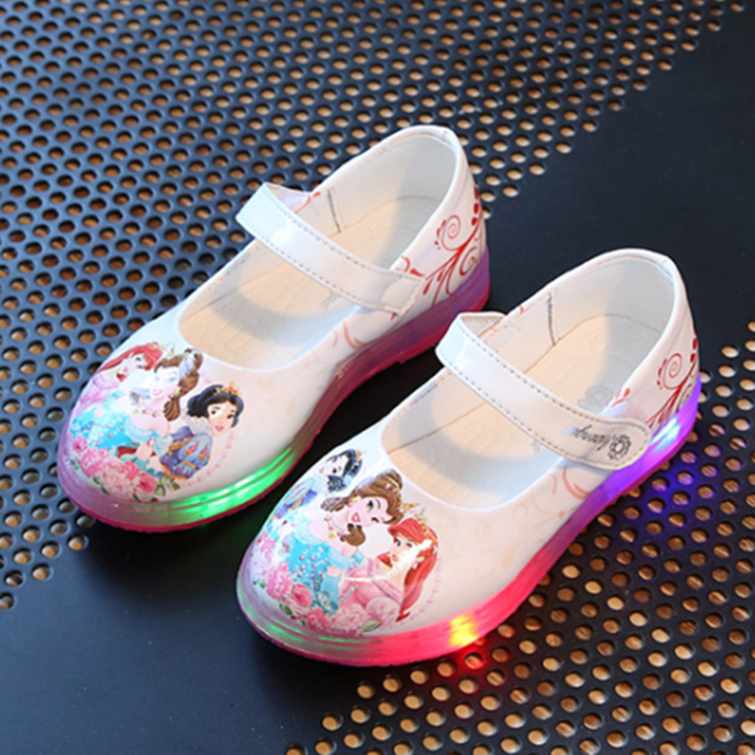 Girls Shoes With Lamp Princess Shoes Fashion Students Show Shoes Flat Shoes
