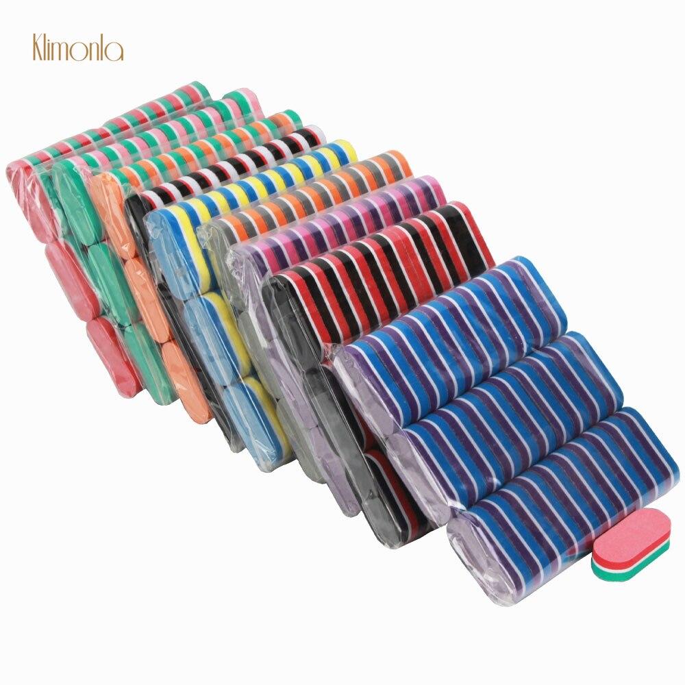 200Pcs/Lot Mix Style Mini Sponge Nail File Sanding Grinding Colorful UV Gel Polish Professional Nail Art Mini Care Salon Tools