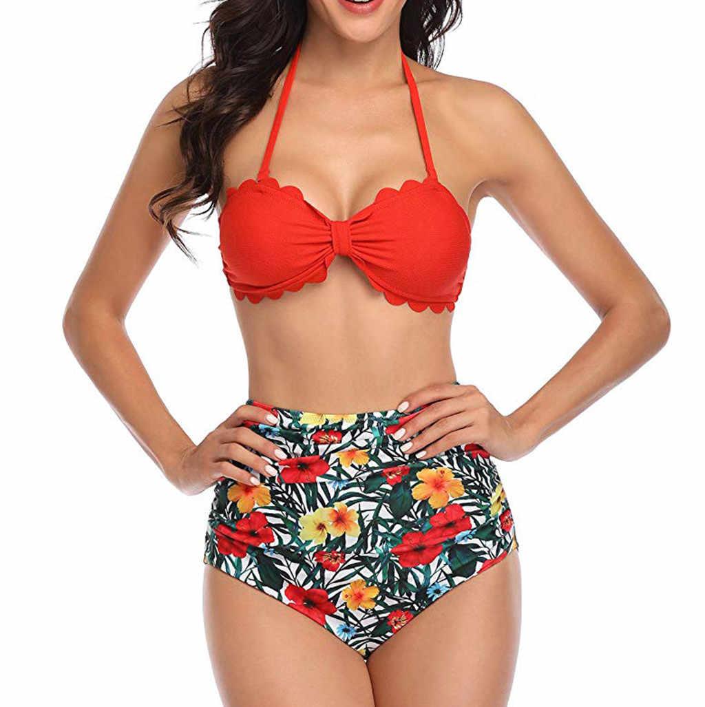 النساء ملابس السباحة ليوبارد هاواي طباعة رفع ملابس السباحة مثير مجموعة البكيني بوهو شاطئ البرازيلي Biquini الإناث ثوب السباحة 20Jan