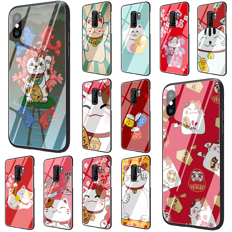 cute lucky cat Tempered Glass Phone Cover Case For Samsung Galaxy S7 edge S8 Note 8 9 10 Plus A10 20 <font><b>30</b></font> <font><b>40</b></font> <font><b>50</b></font> <font><b>60</b></font> <font><b>70</b></font> image